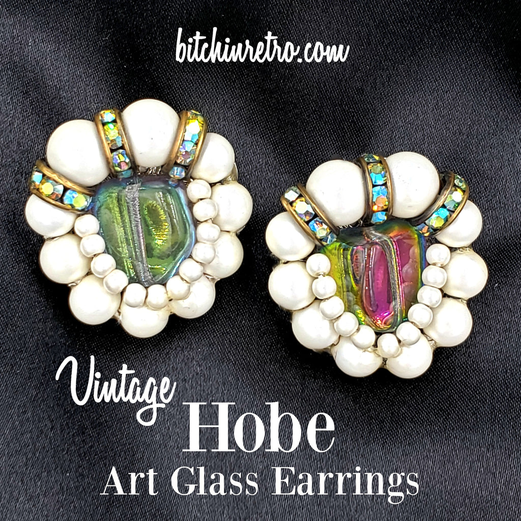 Hobe Vintage Art Glass and Pearl Earrings at bitchinretro.com