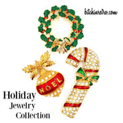 Holiday Jewelry Collection With Avon Noel Pendant, Candy Cane and Wreath Pins