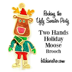 Ugly Christmas Sweater Holiday Moose Brooch at bitchinretro.com