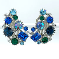Lisner Vintage Rhinestone Earrings in Peacock Blues and Greens