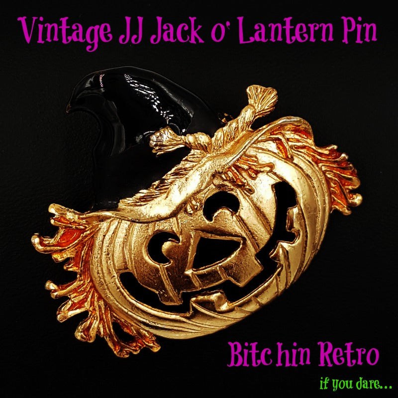 Vintage JJ Jack o Lantern Pin at bitchinretro.com