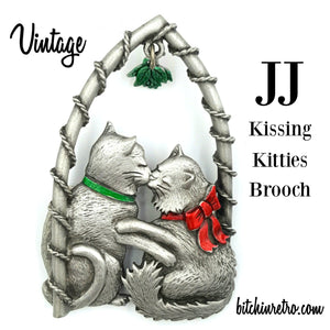 JJ Vintage Kissing Kitties Brooch at bitchinretro.com