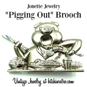 Jonette Jewelry Pigging Out Brooch at bitchinretro.com