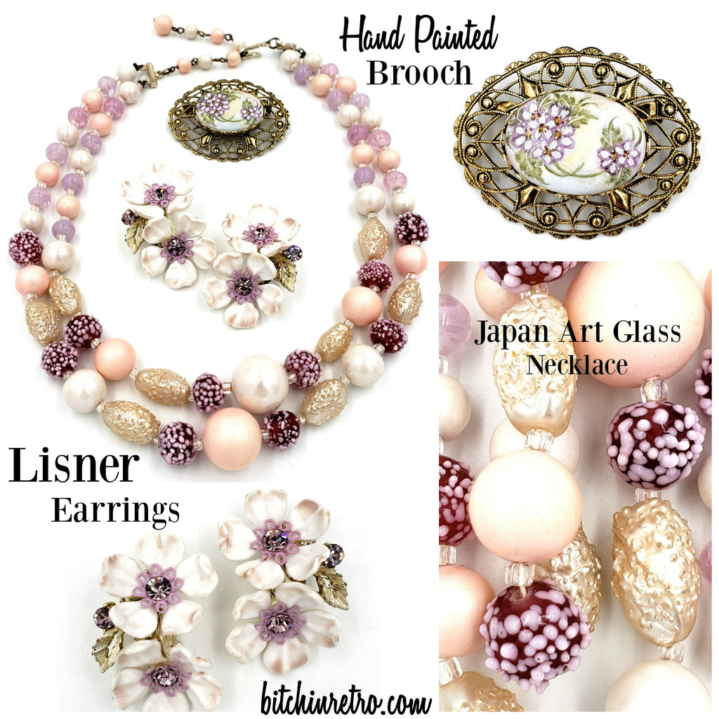 Vintage Jewelry Lot With Japan Necklace, Lisner Earrings, Hand Painted Brooch