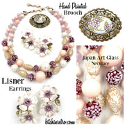 Lisner Earrings, Hand Painted Brooch and Japan Art Glass Necklace at bitchinretro.com