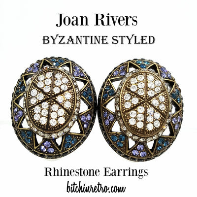 Joan Rivers Byzantine Styled Rhinestone Earrings at bitchinretro.com