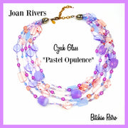Joan Rivers Necklace Pastel Opulence 5 Strands of Czech Art Glass Beads Pinks Blues