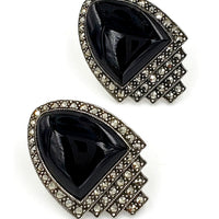 Judith Jack Sterling Silver Marcasite Earrings at bitchinretro.com