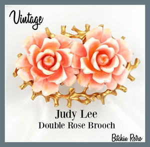 Vintage Judy Lee Double Rose Brooch at bitchinretro.com