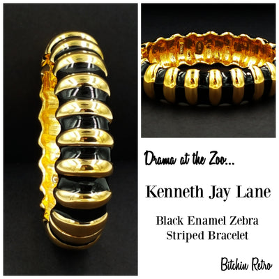 Kenneth Jay Lane Bracelet Designer Vintage Black Enamel and Gold Zebra Striped