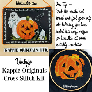 Kappie Vintage Halloween Cross Stitch Kit at bitchinretro.com