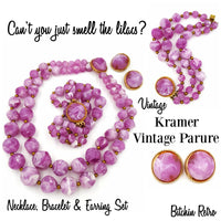Kramer Vintage Jewelry Set With Lavender Necklace Bracelet Earrings