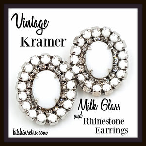 Kramer Vintage Milk Glass and Rhinestone Earrings at bitchinretro.com