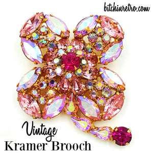 Kramer Vintage Rhinestone Brooch at bitchinretro.com