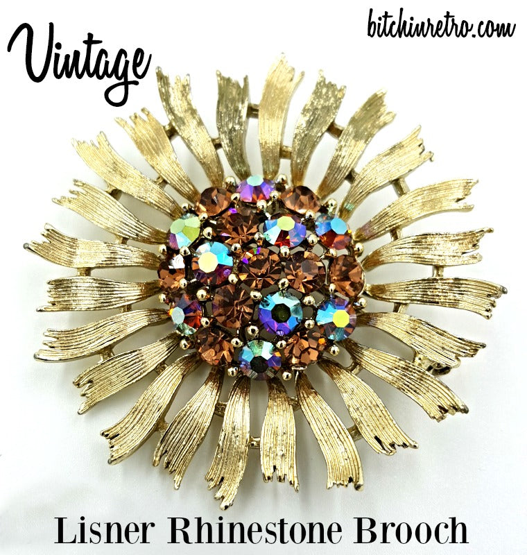 Lisner Vintage Daisy Brooch With Amber and Aurora Borealis Rhinestones