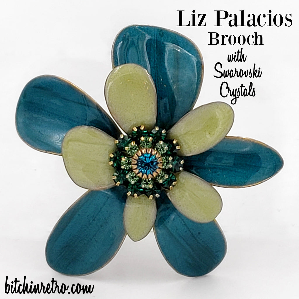 Liz Palacios Flower Brooch with Swarovski Crystals at bitchinretro.com