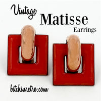 Matisse Vintage Copper and Red Enamel Earrings Mid Century Modern Style