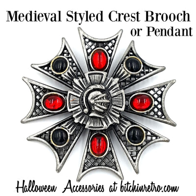 Medieval Styled Crest Brooch or Pendant Halloween Accessories at bitchinretro.com