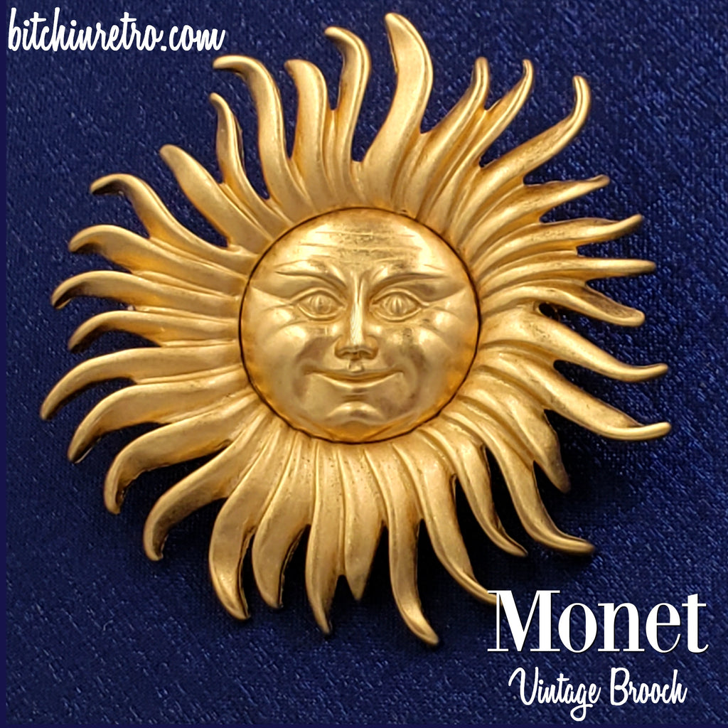 Monet Vintage Sun and Man in the Moon Brooch at bitchinretro.com