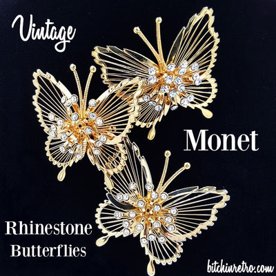 Vintage Monet Butterfly Brooches   Rhinestone Sprays   Retro Glam Style   Set of 3