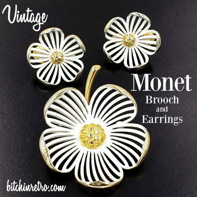 Monet Vintage Dogwood Brooch and Earring Set at bitchinretro.com