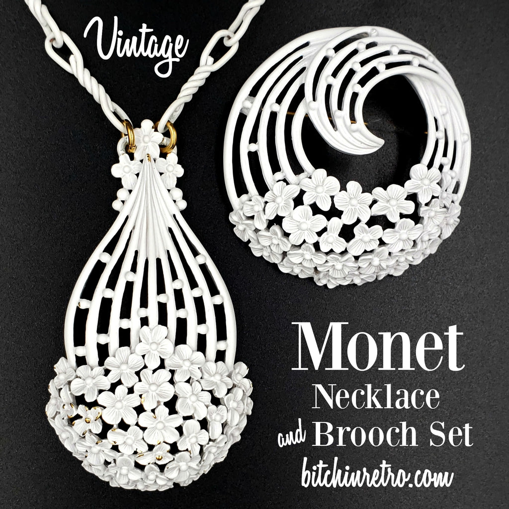 Monet Vintage Necklace and Brooch Set at bitchinretro.com