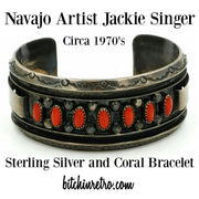 Navajo Artist Jackie Singer Sterling Silver and Coral Bracelet Circa 1970's at bitchinretro.com