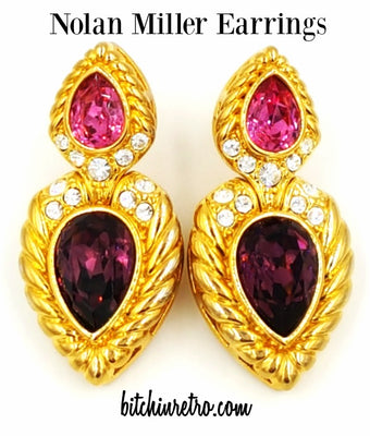 Nolan Miller Pierced Earrings Pink and Purple Crystals Retro Door Knocker Style