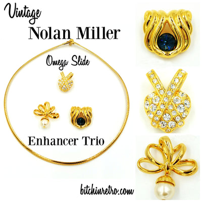 Nolan Miller Vintage Omega Slide Necklace With Enhancers at bitchinretro.com