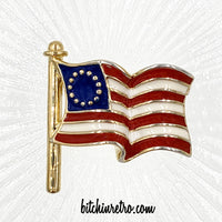 Ciner Betsy Ross Flag Brooch at bitchinretro.com