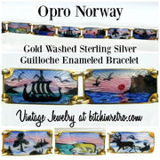 Opro Norway Gold Washed Sterling Guilloche Enamel Bracelet at bitchinretro.com