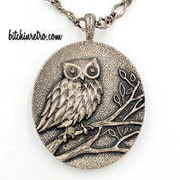 Owl Pendant Vintage Necklace Double Sided at bitchinretro.com