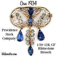 Providence Stock Co. Rhinestone Brooch Circa 1934 @ bitchinretro.com