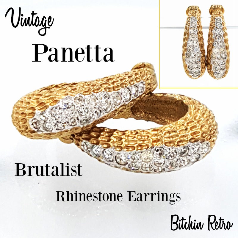 Panetta Vintage Rhinestone Hoop Earrings in Brutalist Modern Style