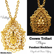 Crown Trifari Necklace Vintage Filigree Pendant Medallion With Cutout Design