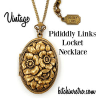 Pididdly Links Vintage Locket Necklace at bitchinretro.com