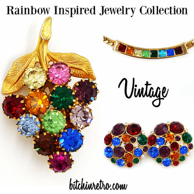 Vintage Rhinestone Rainbow Jewelry Lot Necklace Earrings and Grape Cluster Pin