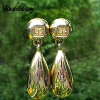 Givenchy Vintage Iconic 4G Logo Earrings With Tear Drop Articulations