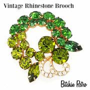 Vintage Rhinestone Brooch in Shades of Peridot and Kelly Green