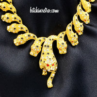 Leopard or Jaguar Rhinestone Necklace and Earring Set at bitchinretro.com