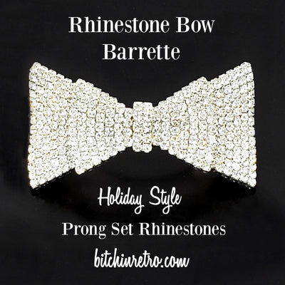Rhinestone Bow Barrette With Holiday Style at bitchinretro.com