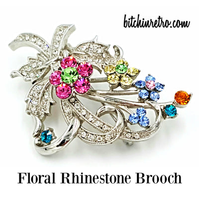 Floral Rhinestone Brooch at bitchinretro.com