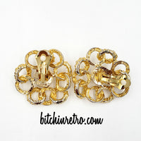 Rhinestone and Pearl Cabochon Bridal Earrings at bitchinretro.com
