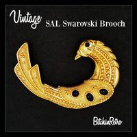 SAL Swarovski Crystal Bird Brooch with Art Deco Design and Cabochons