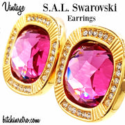 S.A.L. Swarovski Crystal Vintage Earrings at bitchinretro.com
