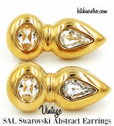 SAL Swarovski Crystal Vintage Abstract Earrings at bitchinretro.com