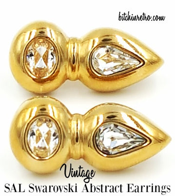 Swarovski Vintage Crystal Earrings Signed SAL Pierced Retro Abstract Style