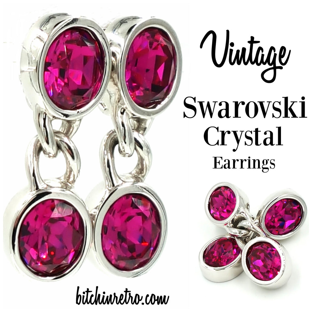 Vintage SAL Swarovski Crystal Hot Pink Earrings With Silver Chain Detail
