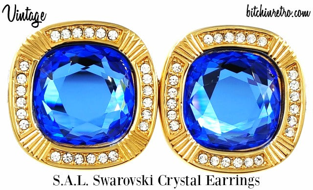 "SAL Swarovski Crystal Earrings Vintage Designer Sapphire Blue 3/4"" Crystals Mint"