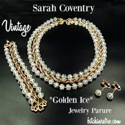 Sarah Coventry Vintage Golden Ice Necklace Bracelet and Earring Set